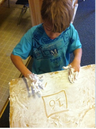 Shaving cream math facts practice