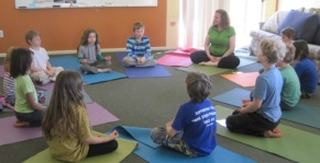 Photo from previous year's class. Yoga with Chiara Lasagne Morgan and Meditation with Premi. Sorry, that I did not have photos of this year's class meditating... I was busy meditating with them :)